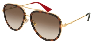 Gucci GG0062S Tortoise/Gold with Brown Gradient Lenses