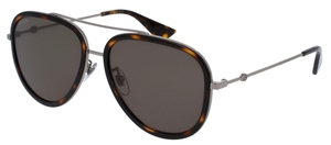 Gucci GG0062S Tortoise/Silver with Green Lenses