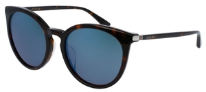 Gucci GG0064SK Tortoise with Blue Mirror Lenses