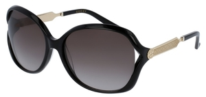 Gucci GG0076S Black/Gold with Grey Gradient Lenses