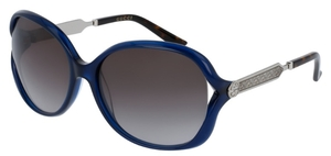 Gucci GG0076S Blue/Gunmetal with Grey Gradient Lenses