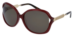 Gucci GG0076S Burgundy with Green Lenses