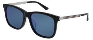 Gucci GG0078SK Black with Blue Lenses