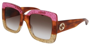 Gucci GG0083S Pink/Tortoise/Tan with Brown Gradient Lenses