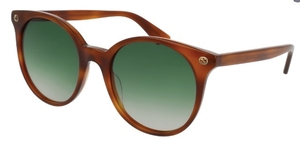 Gucci GG0091S Havana with Gradient Green Lenses
