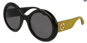 Gucci GG0101S Black/Green Glitter with Grey Lenses
