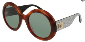 Gucci GG0101S Havana/Grey Glitter with Green Lenses