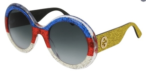 Gucci GG0101S Red/White/Blue with Yellow Glitter Temples, and Grey Gradient Lenses