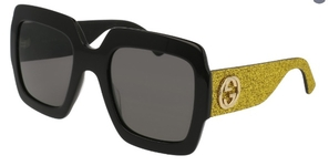 Gucci GG0102S Black/Yellow Glitter with Grey Lenses