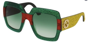 Gucci GG0102S Green/Red/Yellow Glitter with Green Gradient Lenses