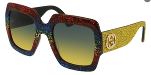 Gucci GG0102S Rainbow Glitter with Grey/Yellow Gradient Lenses