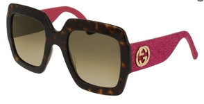 Gucci GG0102S Tortoise/Pink Glitter with Brown Gradient Lenses