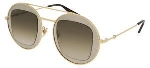 Gucci GG0105S Gold with Dark Brown Gradient Lenses