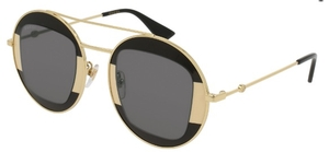 Gucci GG0105S Gold/Black with Grey Lenses
