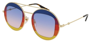 Gucci GG0105S Gold/Rainbow with Blue Gradient Lenses