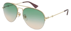 Gucci GG0107S Gold with Green Gradient Lenses