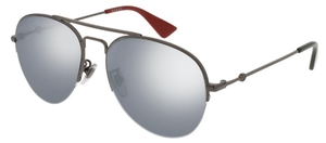 Gucci GG0107S Gunmetal with SIlver Mirror Lenses