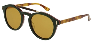 Gucci GG0124S Black/Havana with Light Brown Lenses