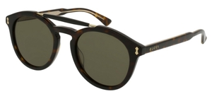 Gucci GG0124S Dark Tortoise with Green Lenses