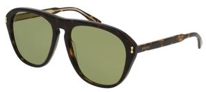 Gucci GG0128S 001 Dark Tortoise with Light Green Lenses