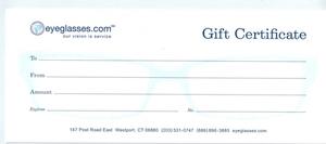 Eyeglasses.com Gift Certificate Green-$100