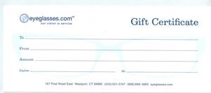 Eyeglasses.com Gift Certificate Green-$250