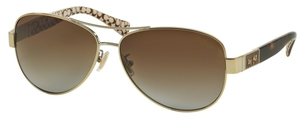 Coach HC7047  L103 CHRISTINA Gold/Dark Tortoise Sand Sig C with Brown Blue Gradient Polarized Lenses