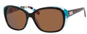 Kate Spade Hilde Olive Tortoise Turquoise with Dark Brown Polarized Lenses