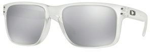 Oakley Holbrook OO9102 Matte Clear with Chrome Iridium Lenses  A2