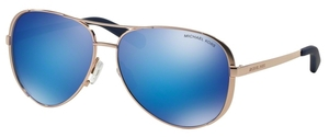 Michael Kors MK5004 CHELSEA Rose Gold-Tone w/ Blue Mirror Lenses