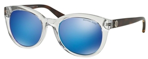 Michael Kors MK6019 CHAMPAGNE BEACH Clear Tortoise w/ Blue Mirror Lenses