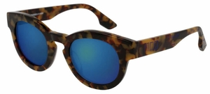 McQ MQ0047S Havana with Blue Mirror Lenses