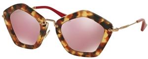 Miu Miu MU 06OS Sand Light Havana w/ Pink Mirror Gold Lenses