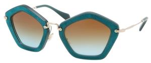 Miu Miu MU 06OS Turquoise/Chamois Turquoise w/ Brown Gradient Lenses