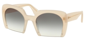 Miu Miu MU 06QS Sand Opal Beige w/ Light Brown Gradient Light Green Lenses