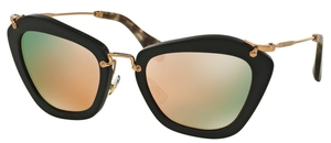 Miu Miu MU 10NS NOIR Black Sand w/ Grey Mirror Rose Gold Lenses