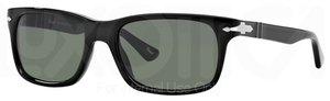 Persol PO3048S Black with Crystal Green Lenses