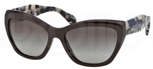 Prada PR 02QS POEME Dark Brown w/ Green Gradient Lenses