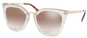Prada PR 53SS Transparent Brown with Gradient Brown Mirror Silver Lenses