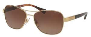 Ralph RA4119 Gold/ Striated Brown w/ Brown Gradient Polarized Lenses