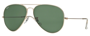 Ray Ban RB 3026 (Aviator Large Metal II) Arista with Crystal Green Lenses
