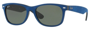 Ray Ban RB2132 New Wayfarer Black/Top Blue Alcantara with Crystal Green Lenses