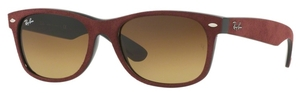 Ray Ban RB2132 New Wayfarer Black/Top Bordeaux Alcantara with Crystal Brown Gradient Lenses