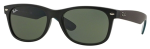 Ray Ban RB2132 New Wayfarer Matte Black with Crystal Green Lenses