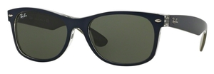 Ray Ban RB2132 New Wayfarer Matte Blue/Military Green with Crystal Green Lenses