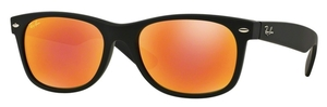 Ray Ban RB2132 New Wayfarer Rubber Black with Crystal Brown Mirror Red Lenses