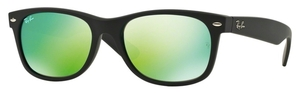Ray Ban RB2132 New Wayfarer Rubber Black with Crystal Green Grey Mirror Lenses