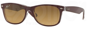 Ray Ban RB2132 New Wayfarer Top Bordeaux on Transparent w/ Gradient Brown POLAR Lenses 6054M2