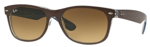 Ray Ban RB2132 New Wayfarer Top Matte Chocolate on Blue with Light Brown Gradient Lenses