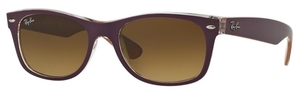 Ray Ban RB2132 New Wayfarer Top Matte Violet on Orange with Light Brown Gradient Lenses